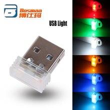 Promocja i wspomaganie sprzedaży BOSMAA 100 sztuk USB Mini LED wnętrza samochodu atmosfera światła dekoracyjne światła czerwony/niebieski/biały/ zielony/niebieski kryształ/pomarańczowy