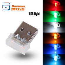 Promotie BOSMAA 100 pcs USB Mini LED Interieur Auto Sfeer Decoratieve Verlichting Rood/Blauw/Wit/ groen/Kristal Blauw/Oranje