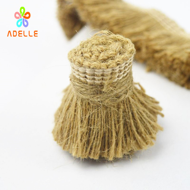 US $14 99 |40mm Natural Jute Tape/Rope Flat Tassel Decorate Craft hessian  Twine String DIY free shipping customized 10m-in Cords from Home & Garden  on