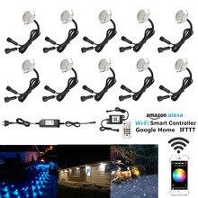 10 stks/partij Smart WIFI Telefoon APP Voice Control RGB/RGBW 31mm Terras Trap Stap LED Dek Rail Soffit licht Timer Dimmer Waterdicht
