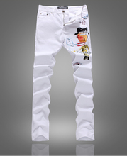 New Colorful painted slim white jean fashion summer deni trousers