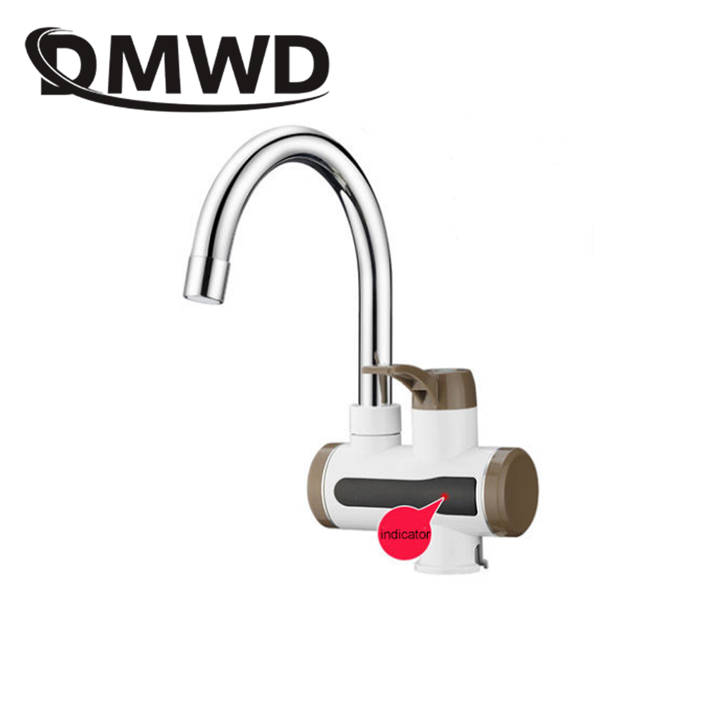 DMWD Instant Electric Heating Tap Faucet Kitchen Tankless Instantaneous Hot Water Heater Bathroom Temperature Display 3000W EU 3500w electric instant water heater tap instantaneous electric hot water faucet tankless heating bathroom kitchen faucet