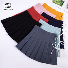 Korean version of the new college style short pleated skirt female straps tie bow girl casual wild student