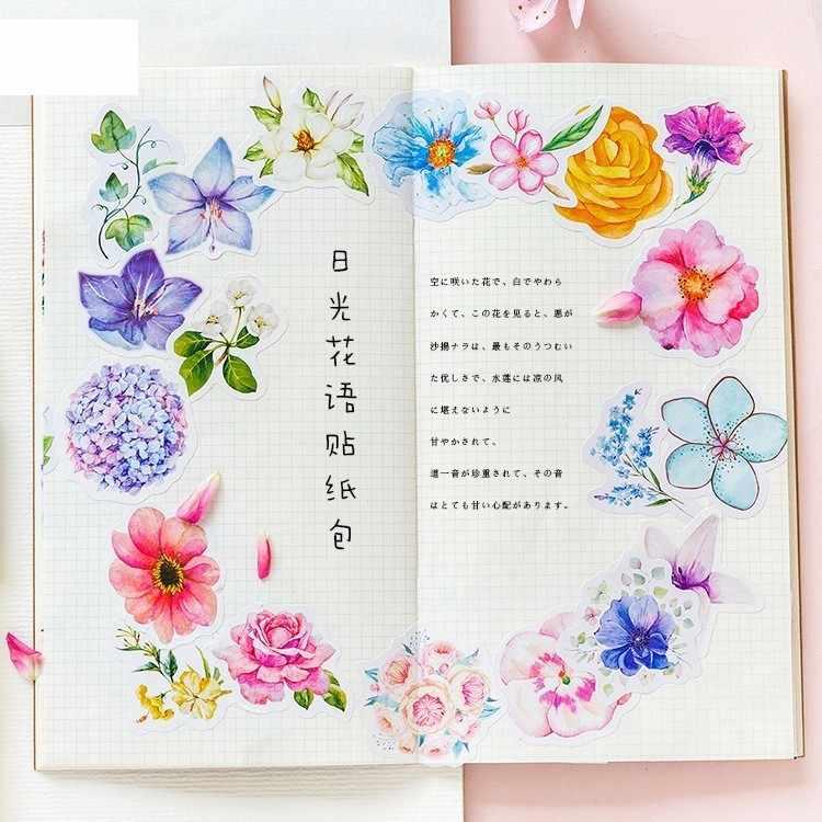 45 PCS/Pack Daylight Flower Language Series Children Stationery Decorative Diary Label Pack Decorative Scrapbooking DIY Stickers