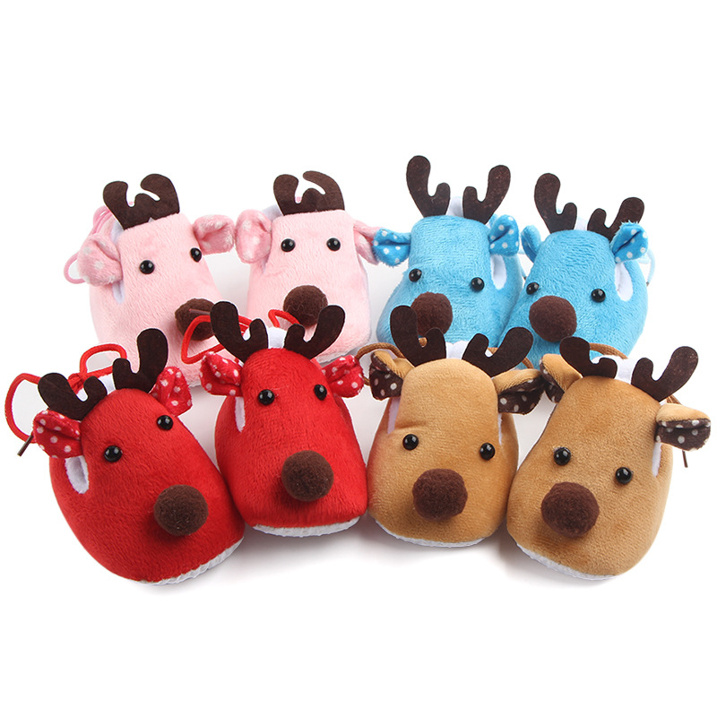 Lovely Toddler First Walkers Baby Shoes Deer Prints Round Slip-On Soft Slippers Shallow Christmas Gift Footwear For Newborns