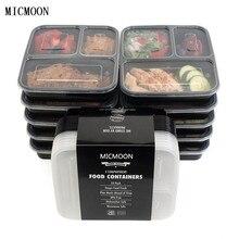 3 Отсек Для Хранения Еды Контейнеры с Крышками, Bento Box Lunch Box Пикник Ящик Для Хранения Пищи Микроволновая Печь и Мыть В Посудомоечной Машине