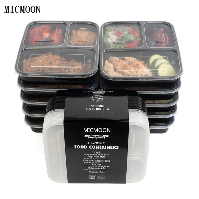 3 Compartment Food Storage Containers With Lids Bento Box Lunch Picnic