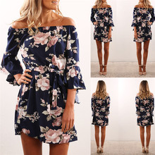 Women Dress 2019 Summer Sexy Off Shoulder Floral Print Chiffon Dress Boho Style Short Party Beach Dresses Vestidos de fiesta