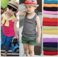 Kids t-shirts 2015 summer cotton candy color sleeveless  t-shirt girl 2-8years boys clothes baby vest top roupas meninos