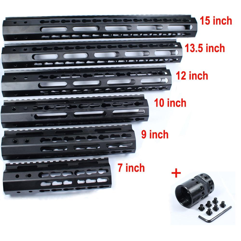 Tactique de Chasse AR-15 M4 Rail 7 9 10 12 13.5 15 Rail KeyMod Handguard picatinny Rail avec Canon En Acier Écrou