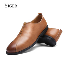 YIGER 2018 New Man Loafers Genuine Leather Driving Shoes Leisure Massage Men Sets foot shoes Casual Peas  0108
