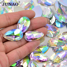 JUNAO-gran diamante de imitación para coser Cristal AB Drop, 100 Uds., 17x28mm, apliques con parte trasera plana, piedras acrílicas, Strass de cristal para ropa