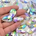 JUNAO 17*28mm Big Sew On Crystal AB Drop Rhinestone Sewing Strass Applique Flatback Acrylic Stones Crystal Diamond for Clothes