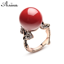 Natural Ruby Stone Ring Red Coral Ring Antique Silver Rose Gold Ring With Natural Stone Classic Women Zircon Rubi Natural Anneau