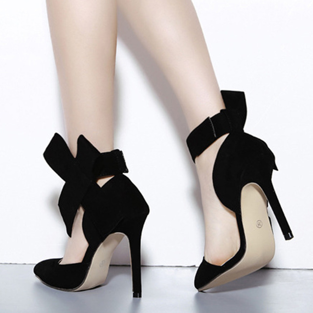 Sexy Summer Women Big Bowtie Bow Pumps Butterfly Detachable Bowknot Sandals  Stiletto Shoes Woman High Heels Pointed Toe Shoes