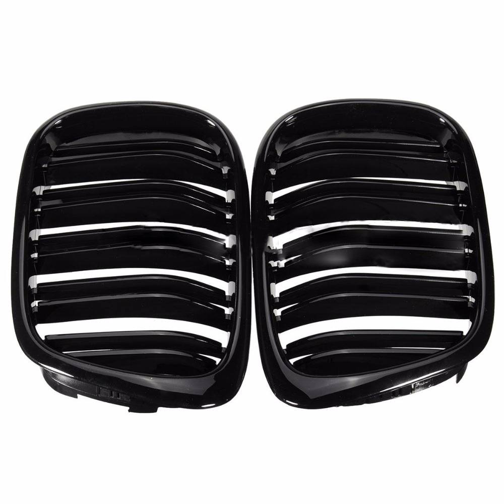 Pair Gloss Black Front Double Line Grilles Grill For BMW 5 Series E39 95-04 SR1G цена
