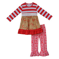 Sweet Red White Stripe Baby Cotton Clothes New Year Infant Gift Kids Outfits Persnickety Remake Boutique Girl Clothing Sets F035