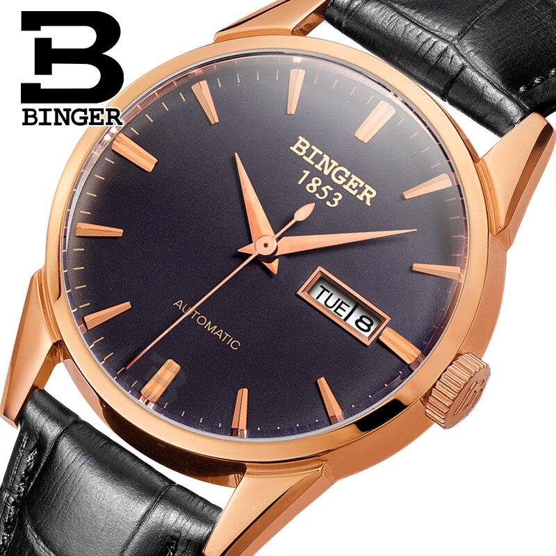3ccc00b9730 Suíça BINGER relógio de luxo da marca relógios Pulso dos homens 18 K ouro  auto vento Automático cheio aço inoxidável à prova d  água B1128 12