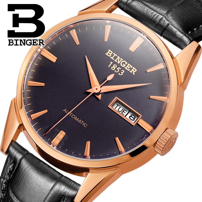 Switzerland men's watch luxury brand Wristwatches BINGER 18K gold Automatic self-wind full stainless steel waterproof  B1128-12 switzerland men s watch luxury brand wristwatches binger luminous automatic self wind full stainless steel waterproof b106 2