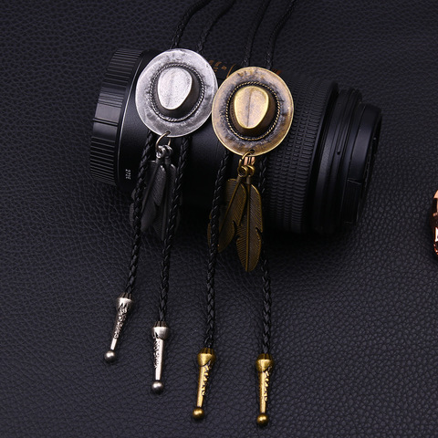 Vintage Cowboy Jazz Hat Alloy Feather Men Women Couples Leather Rope Long Necklace Sweater Chain Bolo Tie Men Accessories Karachi