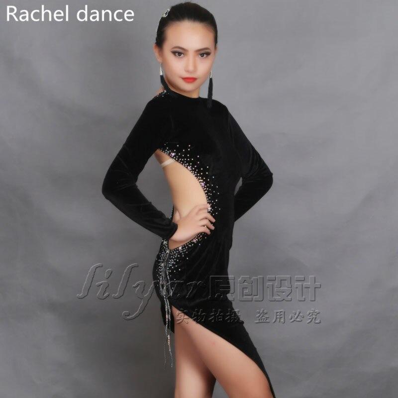 Vestido de baile latino de manga larga de mujer Apertura trasera Irregular Salsa  Tango Rumba Flamengo salón de baile latino competencia disfraces en Latina  ... 49177b07fdf85