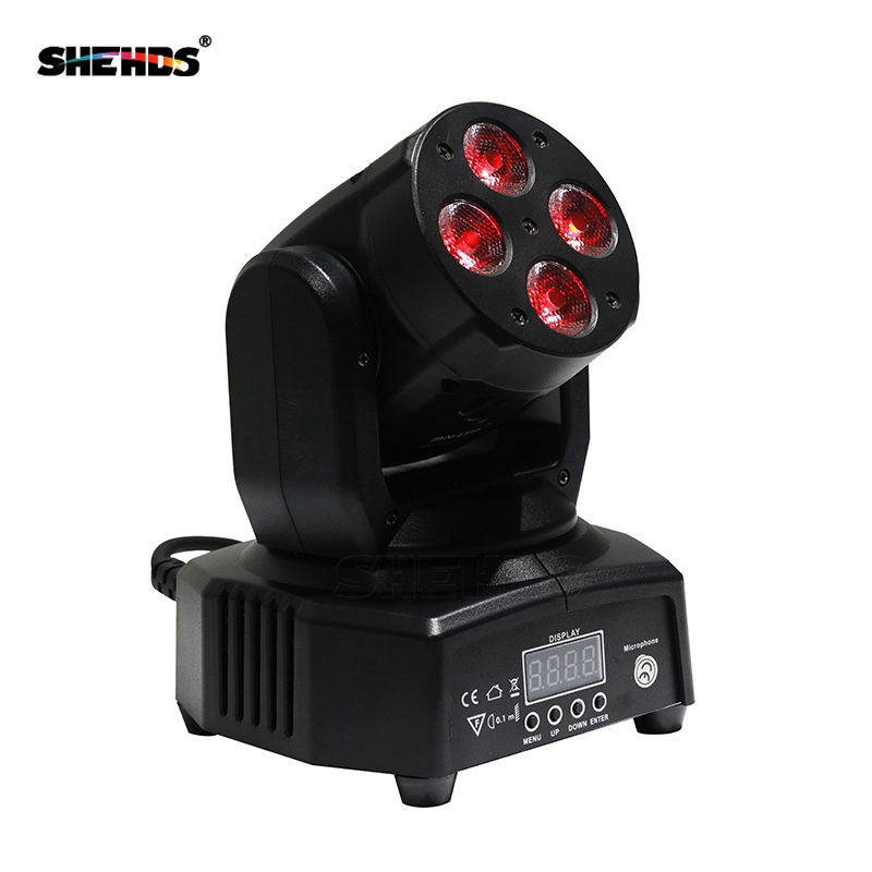 4pcs/Lot Mini LED Moving Head Wash 4x10w RGBW Quad With Advanced DMX 9/12 Channels Stage Effect Lighting DJ Disco Night Club