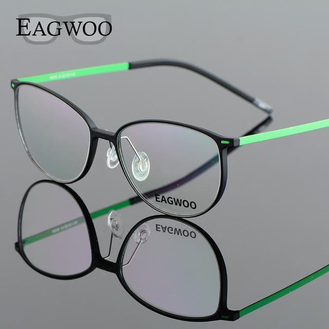 EAGWOO EMS Menina Menino de Aro Cheio de Óculos De Titânio Puro Frame Ótico Prescrição Espetáculo Lerdo Do Vintage Óculos Redondos 890062