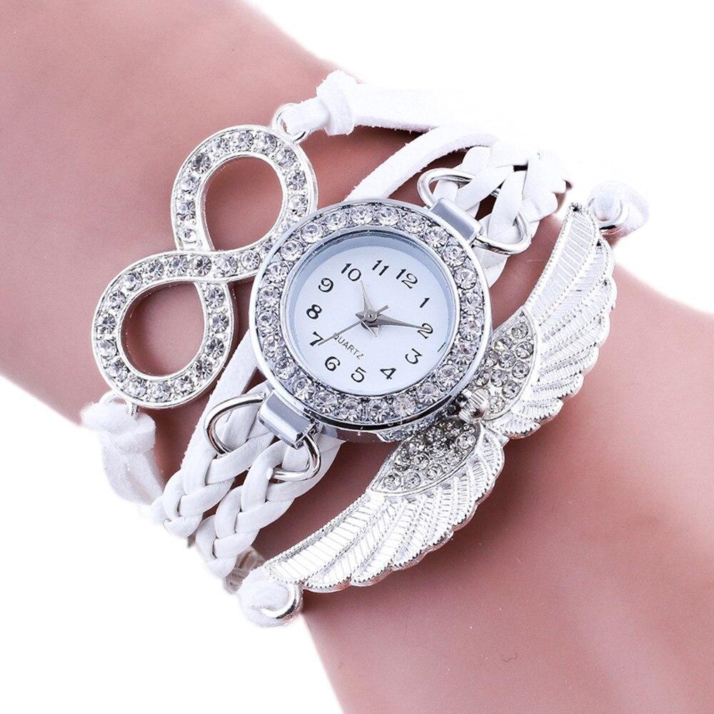 New Fashion Wing Wrap Around Women Bracelet Watch Luxury Rhinestone Leather Chain Watch Clock Ladies Quartz Wristwatch Relogio#W