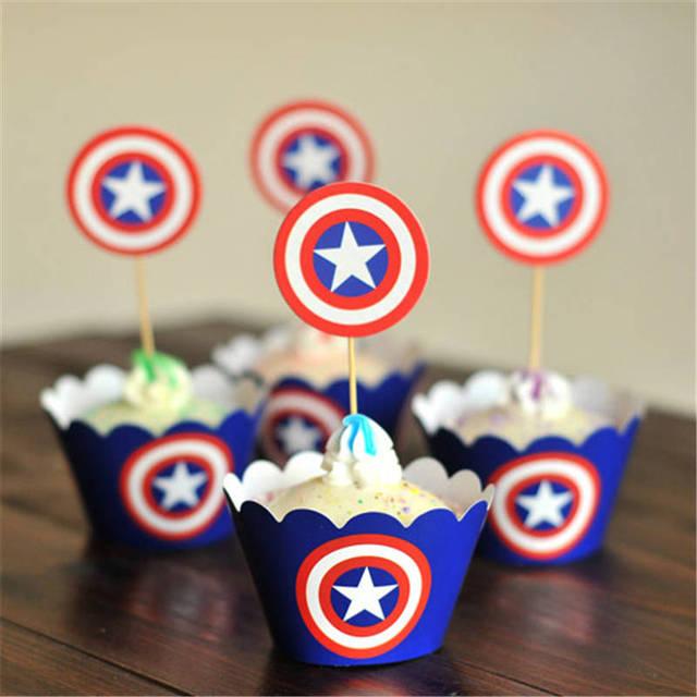 24 Unids Los Vengadores Capitan America Party Paper Cupcake