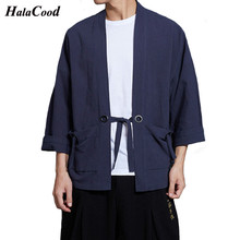 2018 Fashion New Chinese Style Shirts Mens Linen Solid Robes Tang Suit Coat Loose Wind Breeze Cardigan Kimono Spring Summer Fat