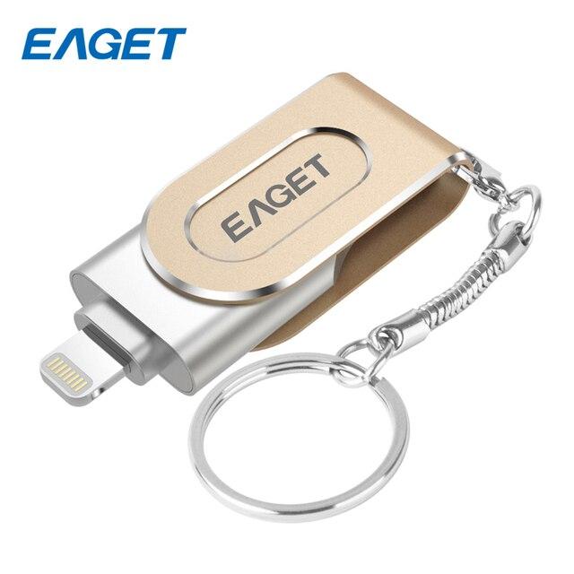 Eaget i80 pen drive 3.0 usb 3.0 ifm quente usb flash drive pendrive de 32 gb 64 gb 128 gb para o iphone para ipad usb stick de armazenamento externo
