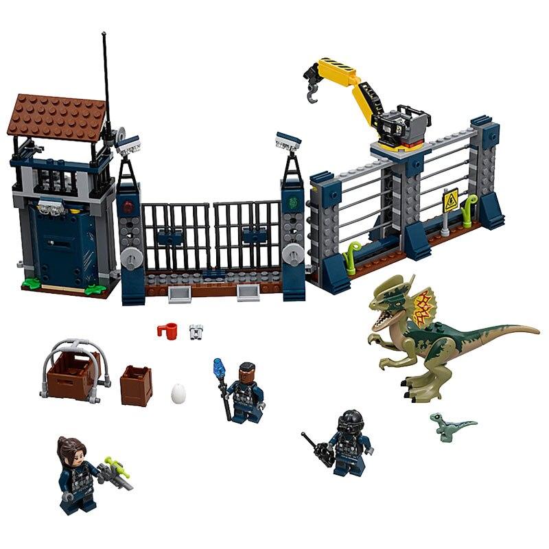 2019 Neuer Stil Legoing Jurassic Welt 2 Front Tür Wache Pfeife Verteidigung Dilophosaurus 289 Pcs Spielzeug Ziegel Für Kinder Dinosaurier Jurassic Legoing