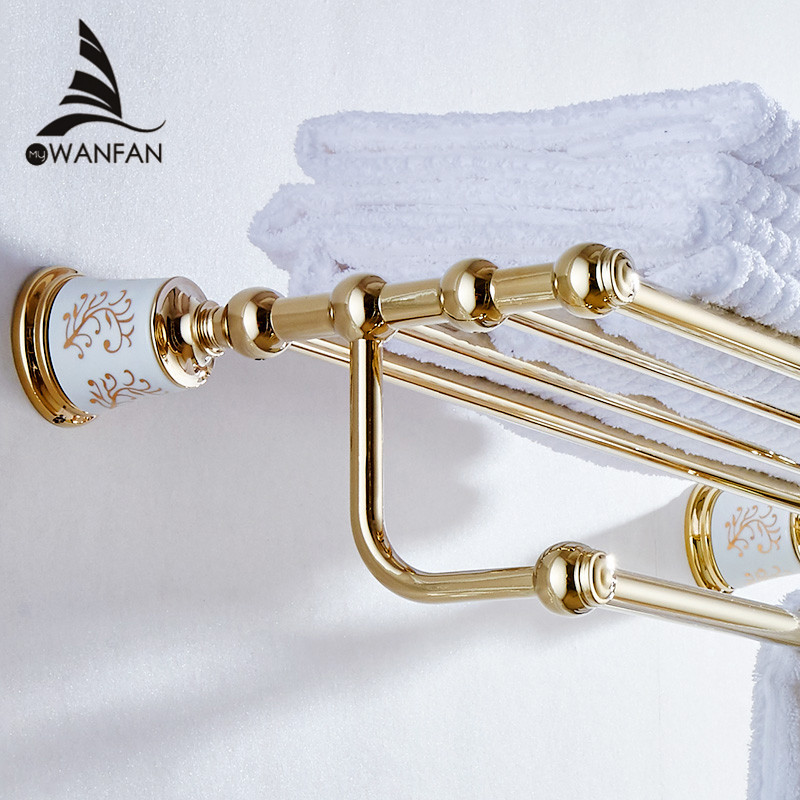 Bathroom Shelves Golden Brass Material Wall Mounted Bath Shelf Towel Rack Holder With Towel Bar Bathroom Accessories 87308 whole brass blackend antique ceramic bath towel rack bathroom towel shelf bathroom towel holder antique black double towel shelf