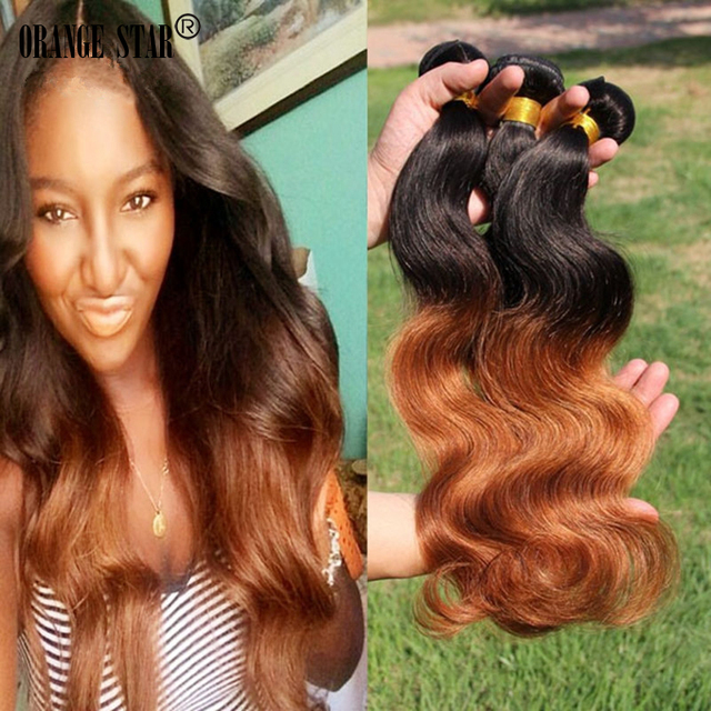 3bundles 7a Brazilian Ombre Hair Extensions Body Wave Two Tone Human
