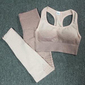 Image 5 - Ombre Set 2 Piece Workout Set Women Seamless Yoga Set Sportswear Fitness Clothes For Women Gym Clothing Gym Leggings Sports Set