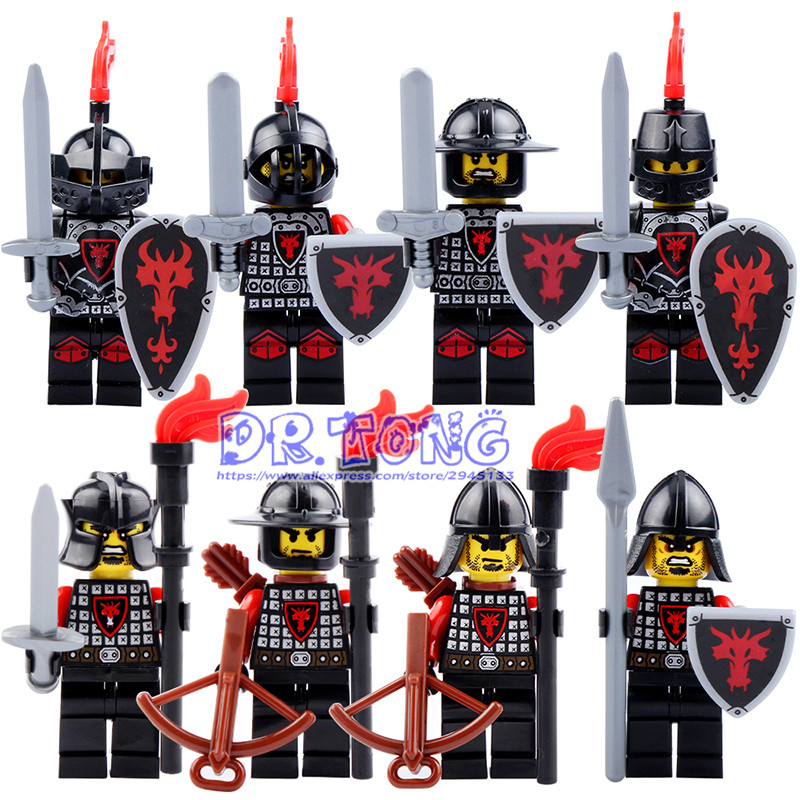 DR.TONG Red Dragon Knight Medieval Castle Light Armor Knight with Weapons Figures Building Blocks Mini Bricks Kids Toys 9804 a wild life a visual biography of photographer michael nichols