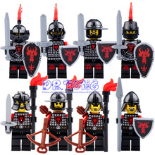 DR TONG Red Dragon Knight Medieval Castle Light Armor Knight with Weapons Figures Building Blocks Mini