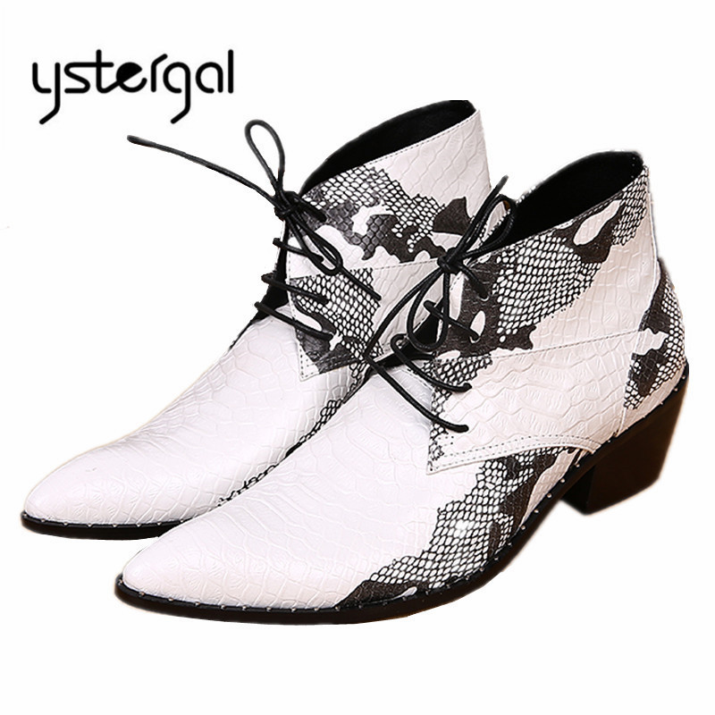 YSTERGAL Fashion Men Ankle Boots Pointed Toe Lace Up Mens Oxford Shoes High Top Cowboy Boots White Botas Militares Plus Size fashion pointed toe lace up mens shoes western cowboy boots big yards 46 metal decoration page 8