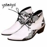 YSTERGAL Uomini di Modo Stivaletti Scarpe A Punta Lace Up Mens Oxford Shoes High Top Stivali Da Cowboy Bianco Botas Militares Plus formato