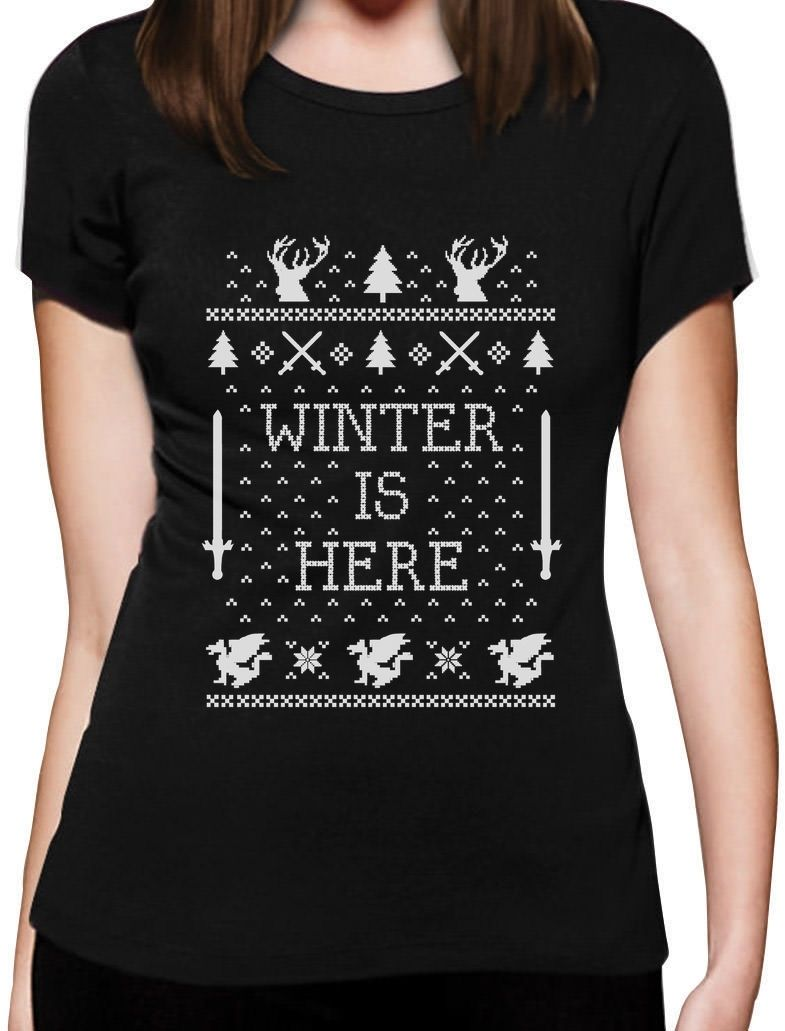 Winter Is Here Ugly Christmas Sweater Women T-Shirt Xmas Custom Print Casual O-Neck Top Tee 100% Cotton Short Sleeve