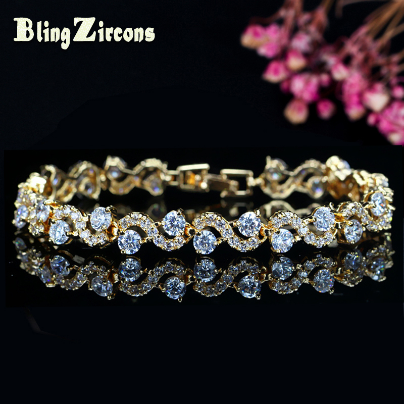 BeaQueen Brand 2019 Lovely Crystal Tennis Bracelet Yellow Gold Color - Bisutería