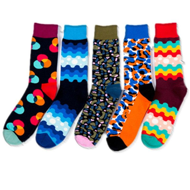 1 Pair Male Cotton Socks Colorful  Leopard Print Art Socks Multi Pattern Long Happy Funny Skateboard Socks Men's Dress Sock