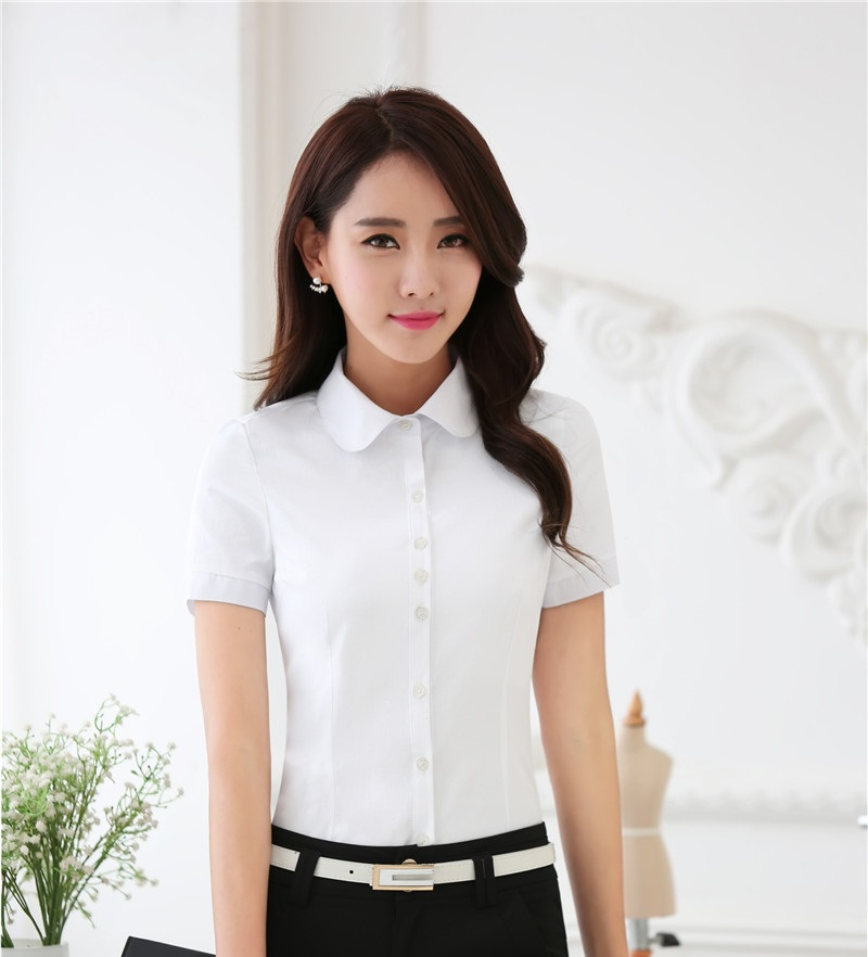 Novelty White Professional Ladies Summer Shirts Blouses