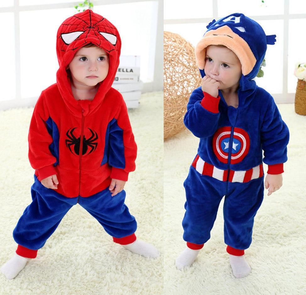 4pcs Lot Top Quality Spiderman Captain America Baby Romper