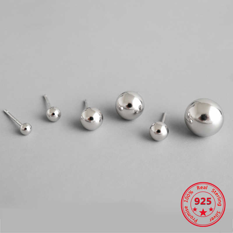 100% Authentic 925 sterling silver fashion personality simple gloss 2.5mm 3mm 4mm 5mm 6mm 8mm 10 mm Spherical Woman Stud Earring