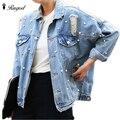 Perlas rebordear ripped denim jacket women único breasted vintage otoño jean chaquetas y abrigos más el tamaño casual jaqueta vaqueros