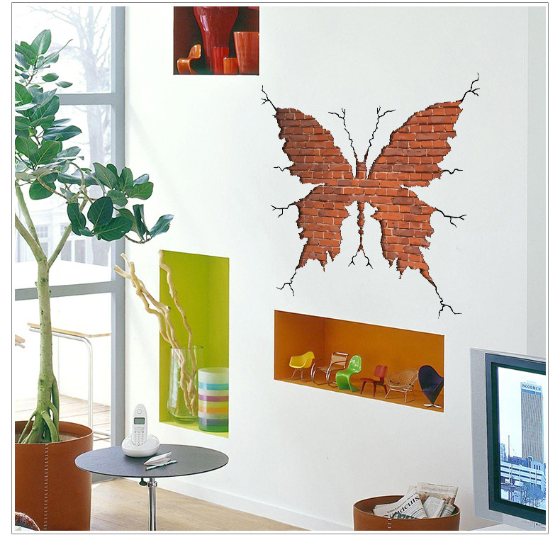 Vertical Brick Wall Accents Wall Decal: Butterfly Shape Broken Wall Brick Wall Stickers Living