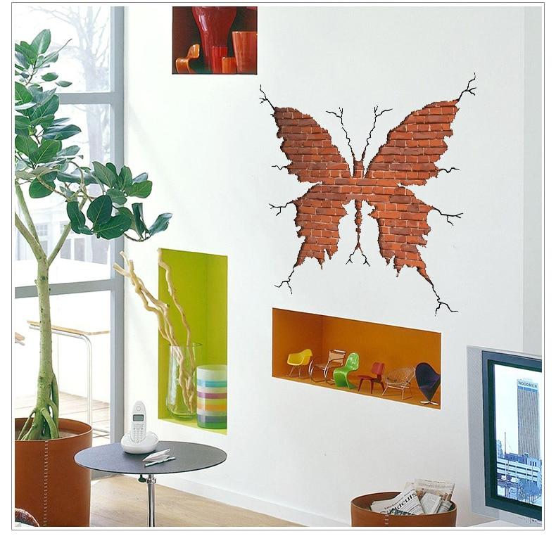 Brick Garden Wall Decor : Butterfly shape broken wall brick stickers living