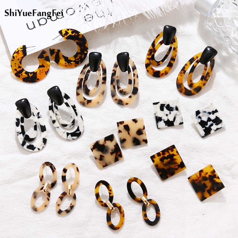2019 Fashion Vintage Leopard Dangle Earrings For Women Geometric Statement Earring Trendy Drop Earring party Hanging Jewelry