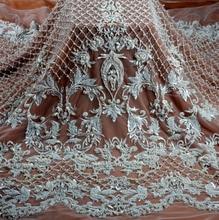La Belleza 2018 модный дизайн тяжелый ручной работы бисером кружевной ткани 1 ярд